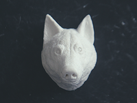 Sculpting a wolf head
