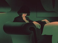 Untitled. vintage noir leather sofa print poster character portrait art drawing illustration