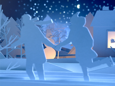 'Akropolis' shopping center Christmas paper cutout handmade illustration animation stopmotion making-of blue snow character winter christmas precess