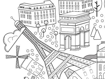 Paris Coloring Book  design map illustration