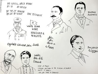 Titanic Illustrations portraits illustrations