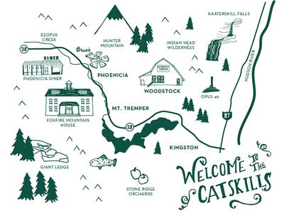 Illustrated Map of the Catskills map illustration