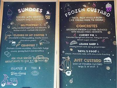 Chalkboard Dessert Menu rally pizza menu branding illustration