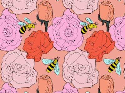 Rose and Bee Pattern textile pattern illustration
