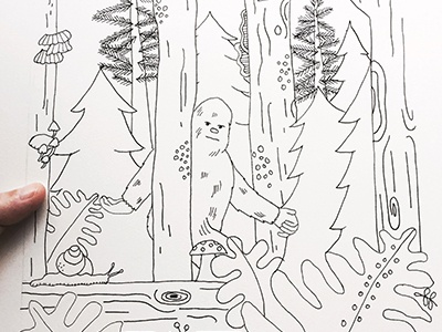 Sasquatch pnw coloring book illustration