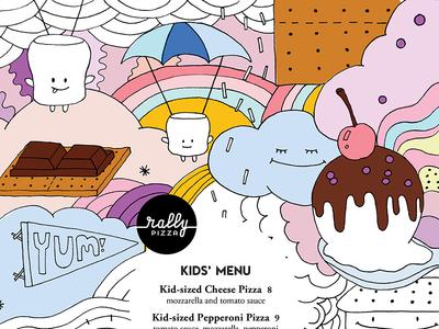 Kids' Menu, Illustrations fun dessert kids coloring page pizza branding illustration
