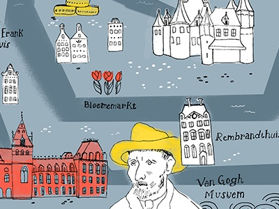 Illustrated Map of Amsterdam amsterdam map illustration
