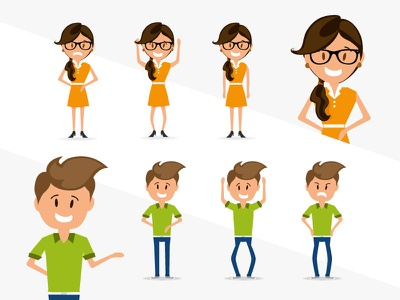Vector characters sad happy workers glasses peoples characters illustration vector
