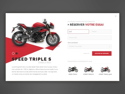 Try the new Triumph's Speed Triple S shop form popup clean ui flat triumph motorcycle bike