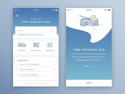 Bus mobile app schedules search planning bus transport app mobile