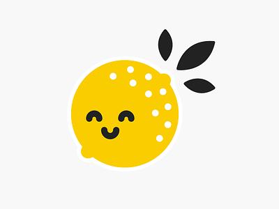 A Lemon Friend logo fruit cute lemon cutie cute leaves yellow illustration lemon
