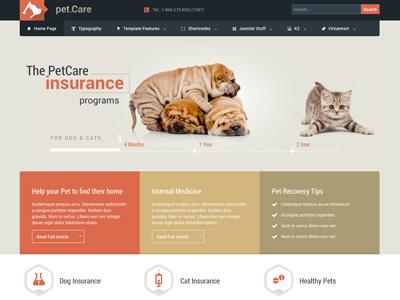 Petcare - Responsive Joomla! Template animal bonusthemes template joomla responsive pet web design virtuemart