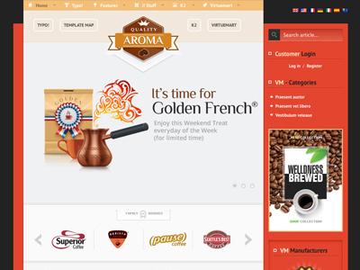 Aroma - Joomla Template eshop bonusthemes joomla coffee drink template virtuemart joomla templates