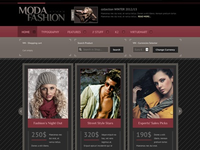 Moda - Joomla Template eshop bonusthemes joomla template fashion clothes virtuemart joomla templates