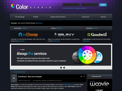 Colorstudio - Joomla Template portfolio presentation bonusthemes joomla template joomla templates