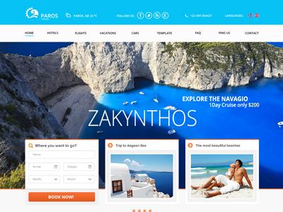 Paros - Travel theme for Joomla responsive greece trip hotel holidays joomla templates template joomla bonusthemes travel