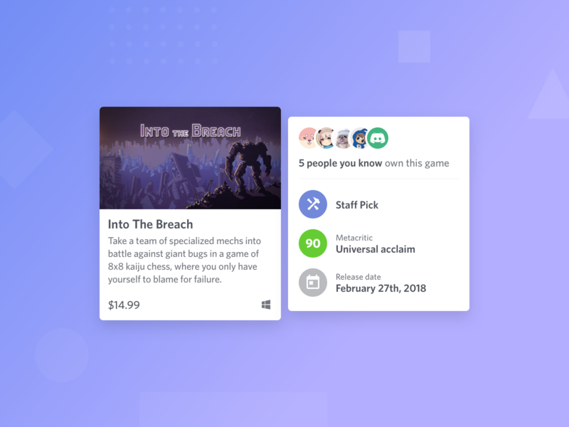 Discord Store - Game Card + Popout card popout browse ui discord social hover shop ecommerce ux product design gaming games