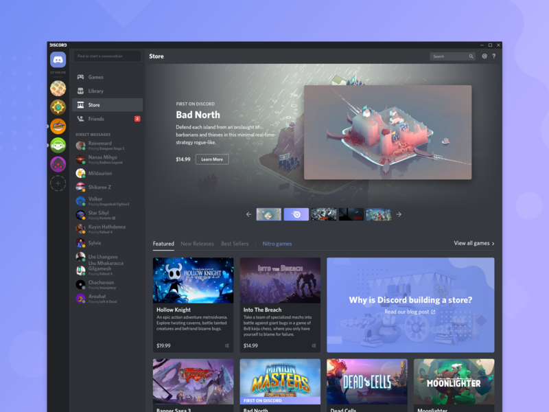 The Discord Store is live! hero product card cards product design ux ui ecommerce games gaming discord shop store