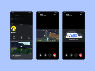 Mobile Stream Spectating spectator preview profile controls ui discord gaming games product design stream spectate mobile go live