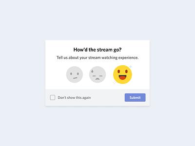 Feedback Modal rate emoji illustration product design discord games stream modal feedback