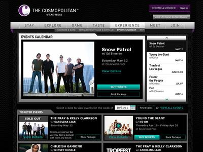 Cosmopolitan Hotel: Event Calendar website design uiux schedule