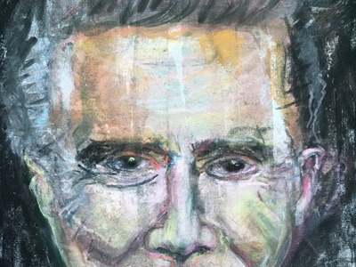 Regis abstract hand drawn pastel portrait