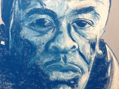 Dr Dre abstract hand drawn pastel portrait