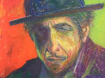 Bob Dylan pastel illustration portrait