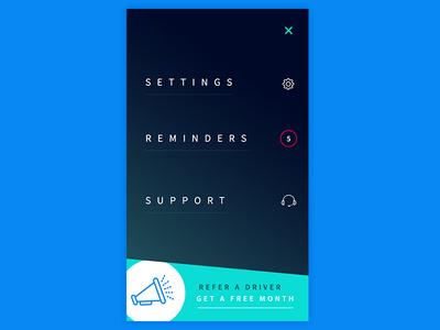 Mobile Menu for App before after sleek aqua blue mobile menu navigation reminders settings referral gradient menu mobile
