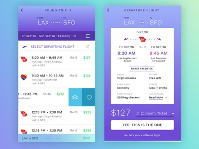 Flight Bookr app ui detail shopping comparison times purple gradient airplane schedule flight