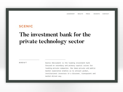 Scenic Website Redesign - alt option #2 typography ui serious chic gray web design website white minimalist monotype redesign