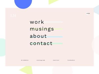 New Portfolio Menu flat design pastel user interface overlay ui design geometric shapes portfolio menu