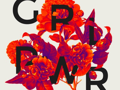 Girl Power type flora bold red graphic design collage typography flower girl power international womens day