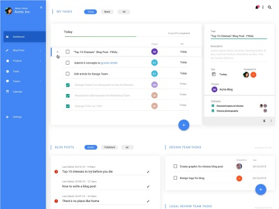 Dashboard Design desktop app clean app blue team blog cms list ui product design to do task app dashboard ui material