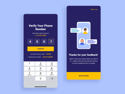 Verification/Feedback screens screen designs feedback login illustration ios design app ux ui