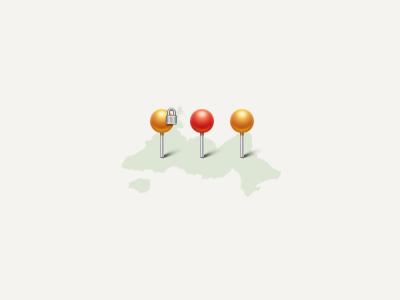 Pins pin map red gold metal lock icon