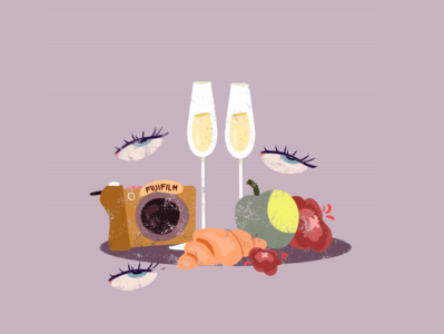 Fuji Film simple graphicdesign editorial illustration editorial art editorial flat illustration flat croissant fruits picnic illustraion