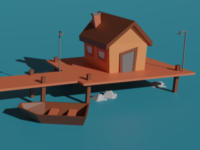 Small cartoon house with boat illustration low poly