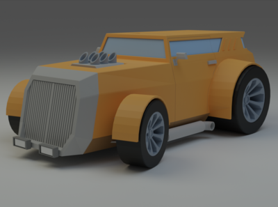Low Poly Hot Rod 3d low poly illustration