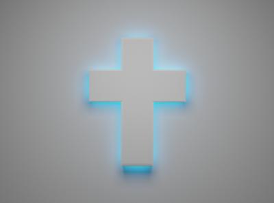 Neon Blue Cross blender3d low poly illustration