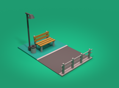 Asset Forge Daily Build: Bench blender 3d asset forge render 3d art illustration low poly