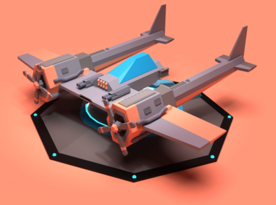 PZ38 concept game asset aviation dieselpunk render 3d art airplane asset forge blender3d illustration low poly