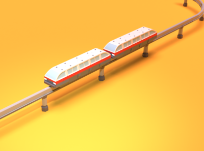 Asset Forge Daily Builds: MonoRail 3d monorail asset forge render 3d art blender3d illustration low poly