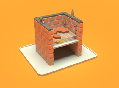 Asset Forge Daily build: Barbecue braai barbecue render asset forge 3d art blender3d illustration low poly
