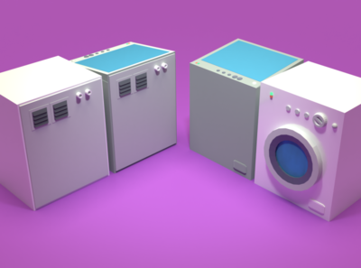 Asset Forge Daily build: WashingMachine washing machine asset forge render 3d art blender3d illustration low poly