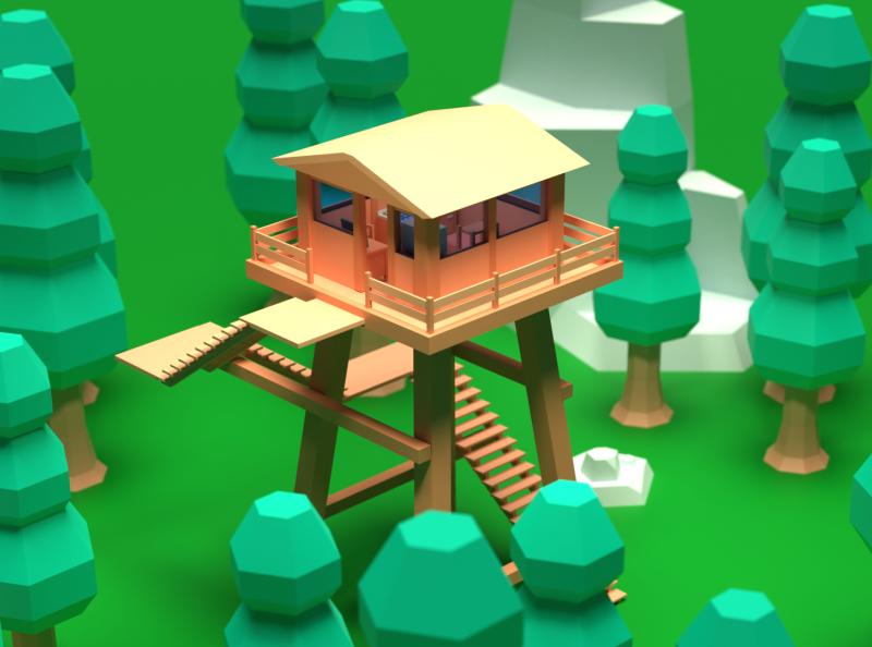 Asset Forge Daily build: Outpost render 3d art blender3d asset forge illustration low poly