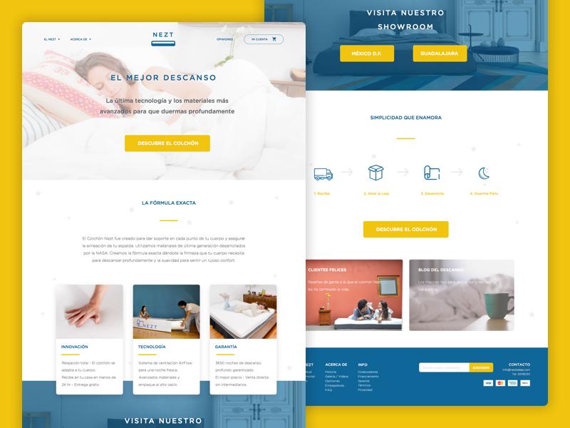 NEZT Landing V2 webdesign night sleep blue ui homepage landing nezt