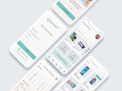 Remedy+ application uxcase medicine delivery app app design web design typography minimal uidesign