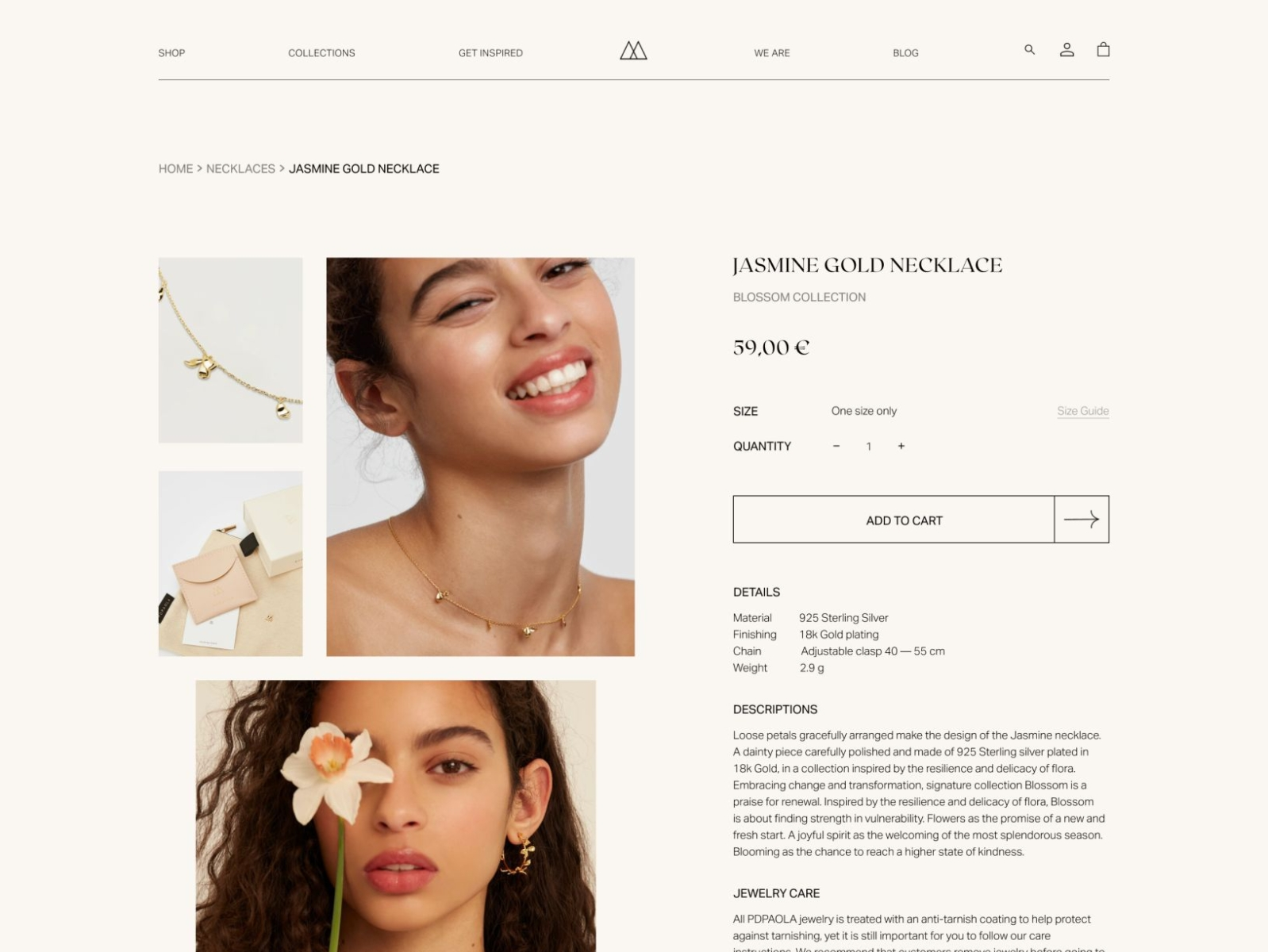 PD PAOLA item page uxuidesign minimal jewelry shop ecommerce design ecommerce eshop itemcard item page