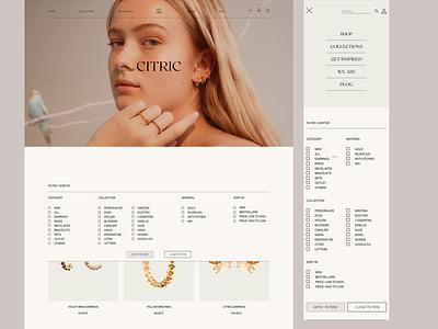 PD PAOLA jewelry catalog menu mobile jewelry shop ecommerce eshop catalog filters minimal uxuidesign